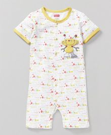 Babyhug Half Sleeves Romper Robot Patch - White Yellow
