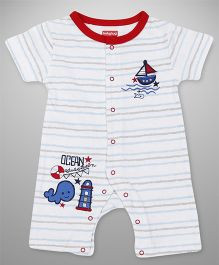 Babyhug Half Sleeves Romper Boat Embroidery - Red White