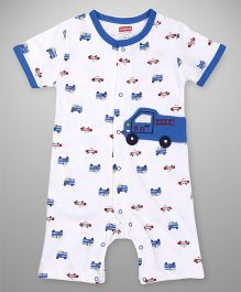 Babyhug Half Sleeves Romper Vehicle Patch - Blue White