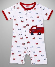 Babyhug Half Sleeves Romper Vehicle Patch - Red White