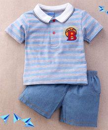 Happy Life B Print T-Shirt & Pant Set - Grey & Blue
