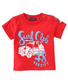 Great Babies Surf Club Print T-Shirt - Red