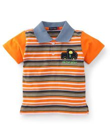 Great Babies Striped Half Sleeves T-Shirt - Orange & Multicolour