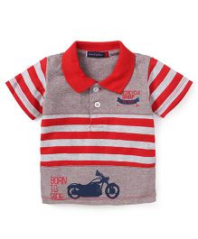 Great Babies Born To Ride Print T-Shirt - Red