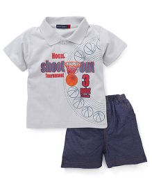Great Babies Basketball Print T-Shirt & Pant Set - Grey