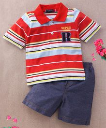 Great Babies Supper Kids Print Tee & Pant Set - Red & Blue