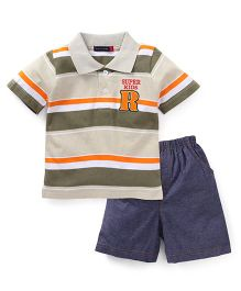 Great Babies Supper Kids Print Tee & Pant Set - Grey & Blue