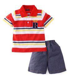 Great Babies Supper Kids Print Tee & Pant Set - Red & Blue
