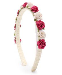 Sweet Berry Flower Hair Band - White & Pink