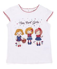 Beebay Short Sleeves Top New York Print - White
