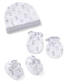 Ben Benny Cap Mittens And Booties Set - Grey White