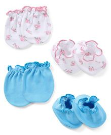 Ben Benny Mittens And Booties Set - White Blue