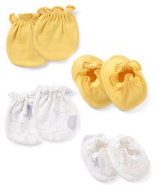 Ben Benny Mittens And Booties Set - White Yellow