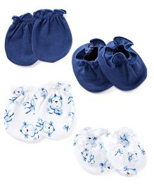 Ben Benny Mittens And Booties Set - Navy Blue White