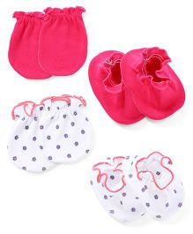 Ben Benny Mittens And Booties Set - Pink White