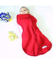 Happy Kids Swaddle With Yatch Design Applique - Red