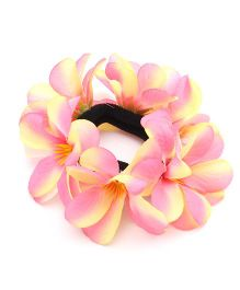 Sweet Berry Flowery Design Rubber Band - Light Pink & Yellow