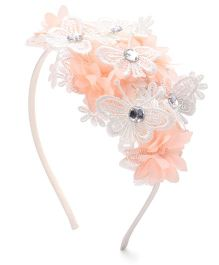 Sweet Berry Flower Design Hairband - Cream & Peach