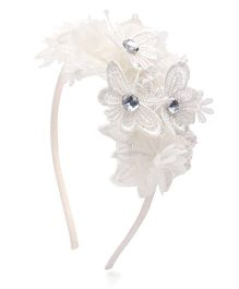 Sweet Berry Flower Design Hairband - White