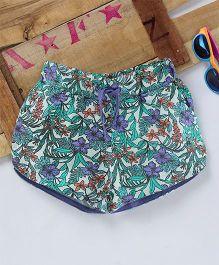 Eimoie Floral Printed Shorts - Green & Purple