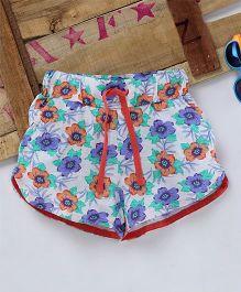 Eimoie Floral Printed Shorts - Orange & White