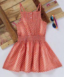 Eimoie Polka Print Gathered Dress - Peach