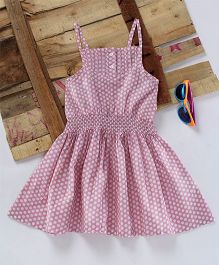 Eimoie Polka Print Gathered Dress - Pink