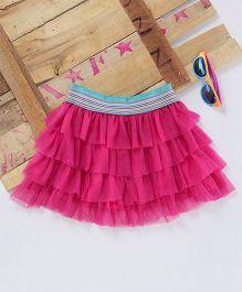 Eimoie Fancy Net Skirt - Coral