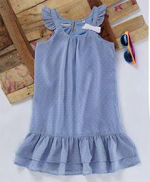 Eimoie Bow Applique Gathered Dress - Blue