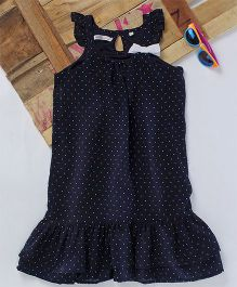 Eimoie Bow Applique Gathered Dress - Navy Blue