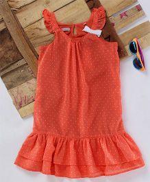Eimoie Bow Applique Gathered Dress - Peach
