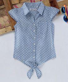 Eimoie Dot Print Tie Up Shirt - Blue