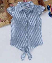 Eimoie Dot Print Tie Up Shirt - Blue