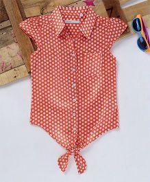 Eimoie Dot Print Tie Up Shirt - Peach
