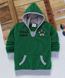Eimoie Hello Girls Printed Hooded Jacket - Green