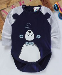 Eimoie Cute Animal Face Printed Onesie - Navy Blue
