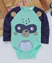 Eimoie Full Sleeves Animal Printed Onesie - Navy Blue & Sea Green