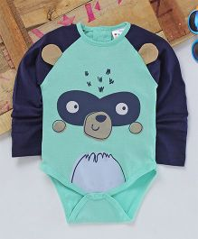 Eimoie Full Sleeves Animal Printed Onesie - Navy Blue & Sea Green