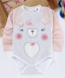 Eimoie Full Sleeves Cute Animal Printed Onesie - Peach