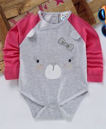Eimoie Full Sleeves Pig Face Printed Onesie - Pink