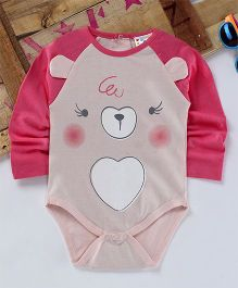 Eimoie Cute Animal Face Printed Onesie - Pink & Peach