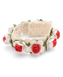 Sweet Berry Rosette Detailing Headband - Off White & Red