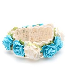 Sweet Berry Rosette Headband - Off White & Blue
