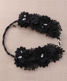 Sweet Berry Flower Design Head Wrap - Black