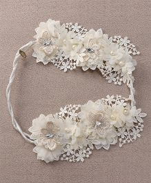 Sweet Berry Flower Design Head Wrap - Off White
