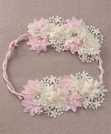 Sweet Berry Flower Design Tiara - Pink & Cream