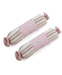 Abracadabra Stripes And Dots Bolsters Set Of 2 - Pink Green Peach Off White