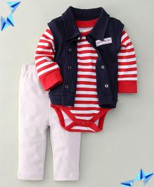 Jazzy Daddy & Son Print 3 Piece Set - Red & Blue