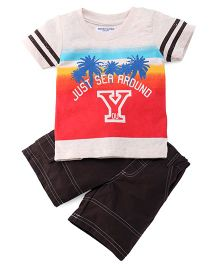 Jazzy Printed Tee & Shorts Set - Red & Coffee Brown