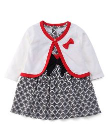 Jazzy Pretty Dress & Shrug With Bow - Cream Black & Red